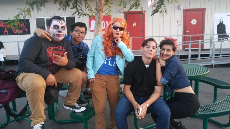 Bryan Rodriguez, Claudio Monsivais, Jonathan Vargas, Carlos Lopez and Grace Elson at the Halloween dance