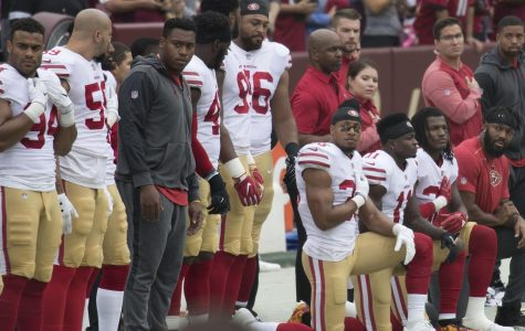 NFL football field surrounded by political turmoil