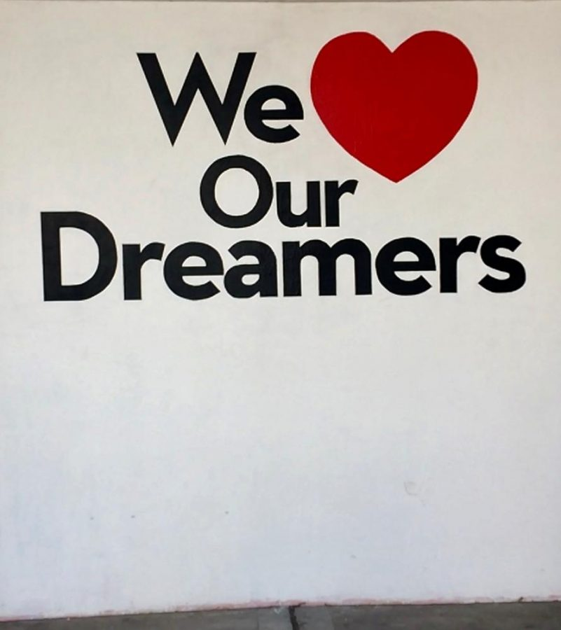 The We Heart Dreamers painting at the Johnsons Center at Santa Ana College.