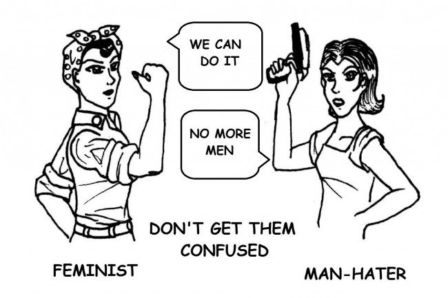 Cartoon depicts the difference between a Feminist and a Man-Hater
