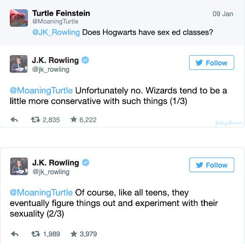 A collage of tweets from J.K. Rowling's twitter.