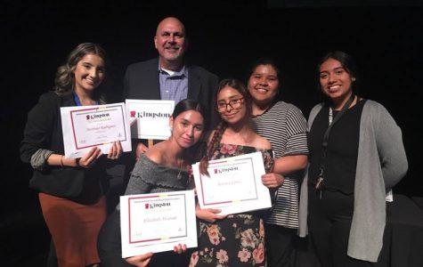 Seniors Destinee Rodriguez, Elizabeth Alvarado, Berenice Cortez, Rosario Molina, and Monica Gonzalez receive their scholarships at the AVID scholarship ceremony at UCI.