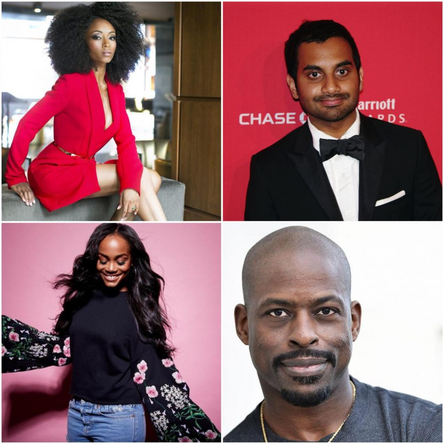(From left to right): Yaya DaCosta, Aziz Ansari, Rachel Lindsay and Sterling K. Brown. Actors who have broken barriers in the entertainment industry that have tried to confine them to false stereotypes and marginalization. Photo credit: Creative commons, edit made by Elizabeth Alvarado