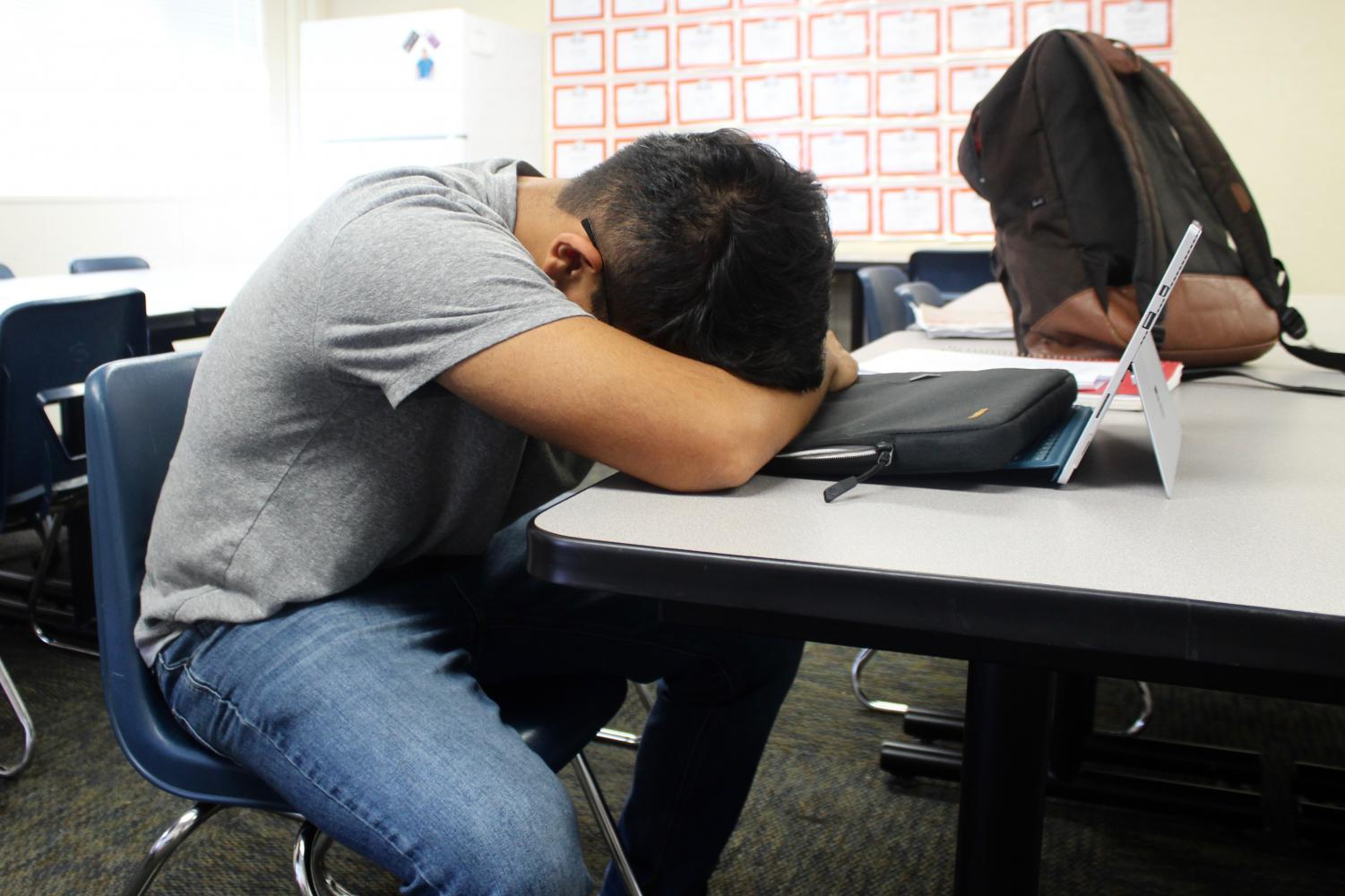 MCHS student sleeps in class.