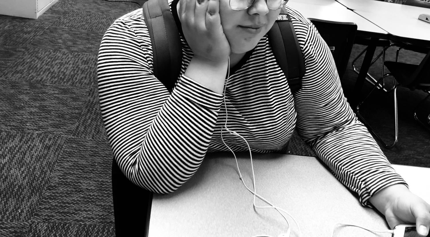 Senior Kenya Villela listens to music to deal with her anxiety.