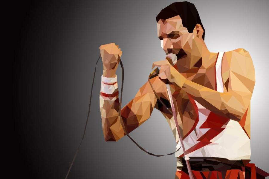 Artwork+of+Freddie+Mercury+performing+at+a+concert.+