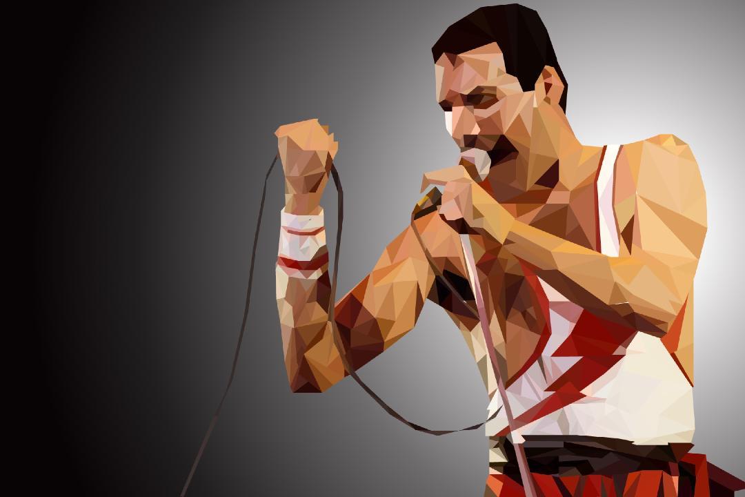 Artwork of Freddie Mercury performing at a concert.