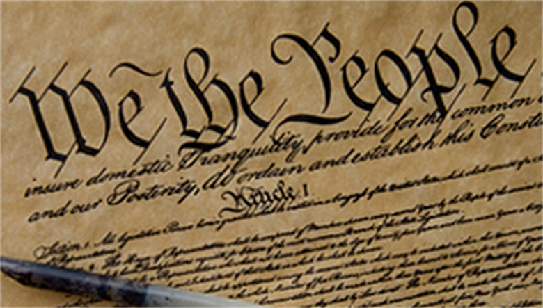 A photograph of the Preamble to the United States Constitution.