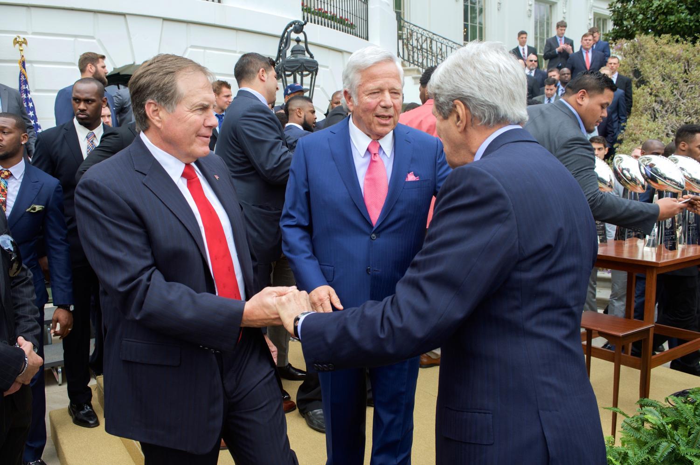 Robert Kraft greeting Secretary John Kerry and Coach Bill Belichick at the White House Super Bowl Celebration.