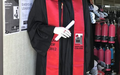 A photograph of the Santa Ana College Cap and Gown  of 2019.