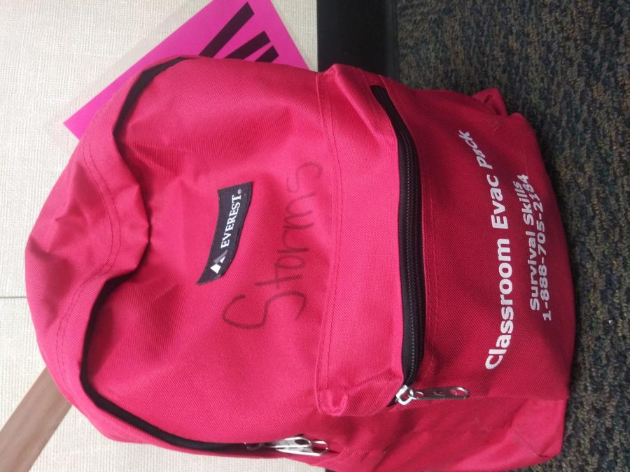 Every class has emergency backpack in case of an earthquake.