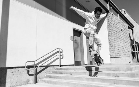 Middle College skater ollies off the four steps.