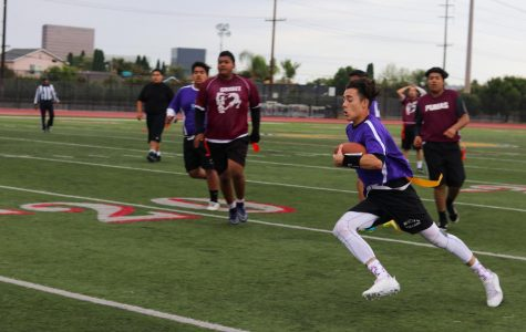 Nicholas Rodriguez ran to score another point for MCHS during the 2018 small schools flag football game.