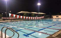 The Segerstrom High School pool deck after evening swim practice on Tuesday, November 26.