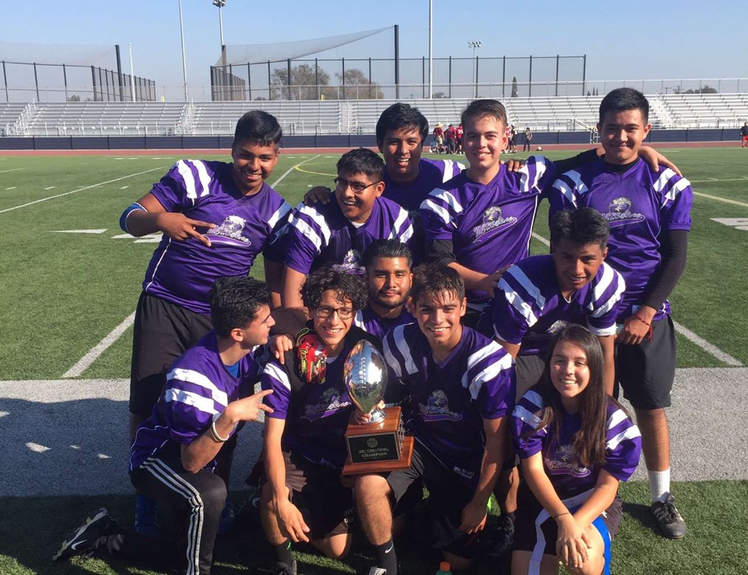 MCHS Seniors celebrating their final victory at the Small school football tournament.