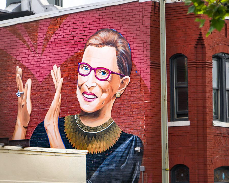 A mural in Washington, D.C. features Ruth Bader Ginsburg.