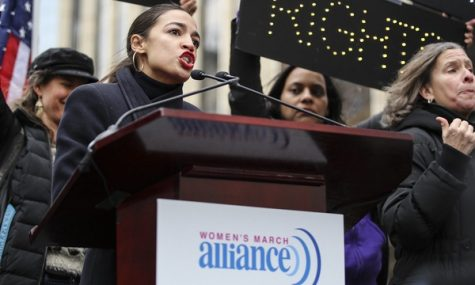 Congresswoman Alexandria Ocasio-Cortez gives a speech at the 2019 Women