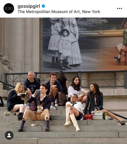 The cast of the Gossip Girl Reboot films on the steps of The Metropolitan Museum of Art in New York.