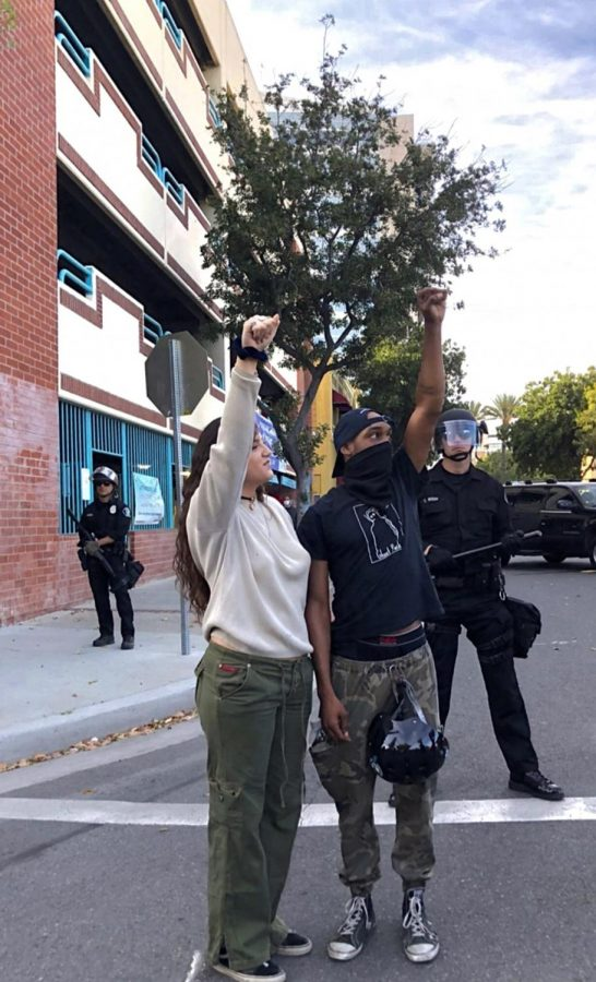 Protesters chant at BLM protest in Downtown Santa Ana June 2020