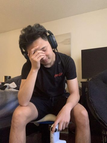 Frustrated gamer becomes overwhelmed with disappointment by what he's playing.