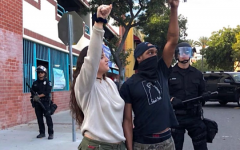Protesters chant at BLM protest in Downtown Santa Ana June 2020.