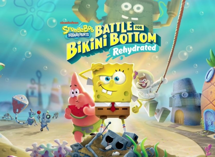 As you open the game, SpongeBob salutes you on the title screen.