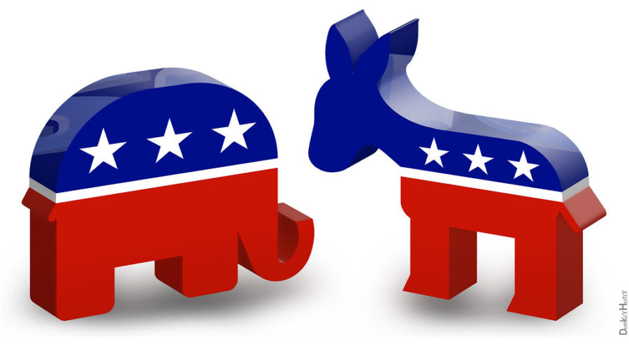 Democrat and Republican are the two largest political parties in the Unites States.