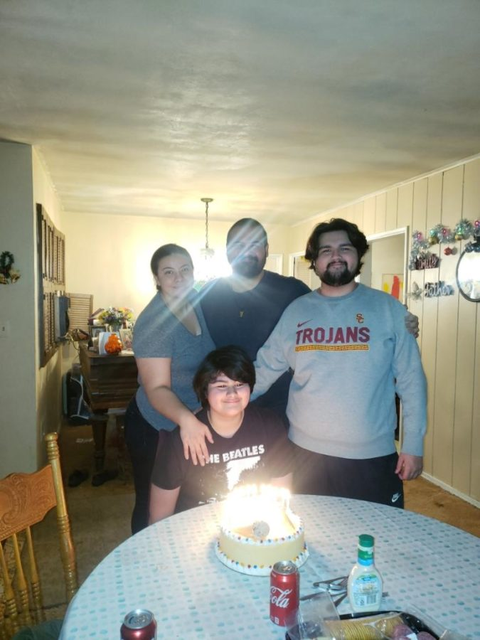 Robert Ayala's family celebrates a birthday during quarantine.