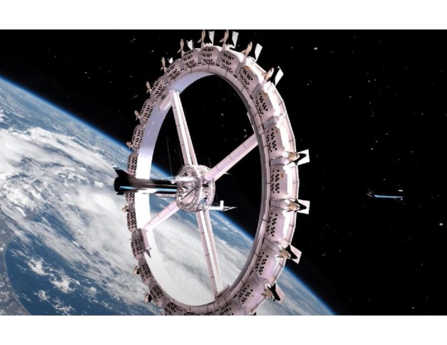 This is a mock-up of what the expected Voyager Space Station Hotel might look like, spinning in space.