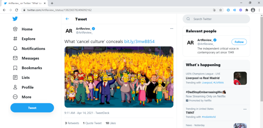 Twitter displays many gifs, opinions, and controversial takes on cancel culture.