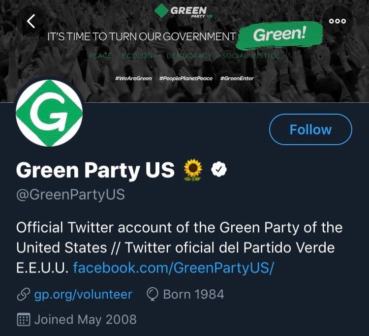 The Green Party of the United States' Twitter account Photo Courtesy of Twitter.