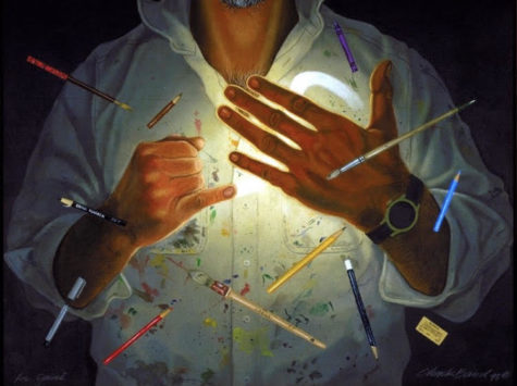 """""""Art No. 2"""" created by Chuck Baird, a Deaf artist shows a man signing the word """"art"""" in ASL."""